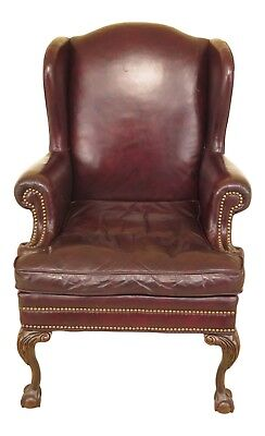 F30099EC: Ball & Claw Wing Back Easy Chair w. Lackawanna Leather