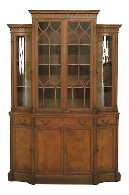 F46553EC: Vintage 1930's Mahogany Curved Glass China Cabinet