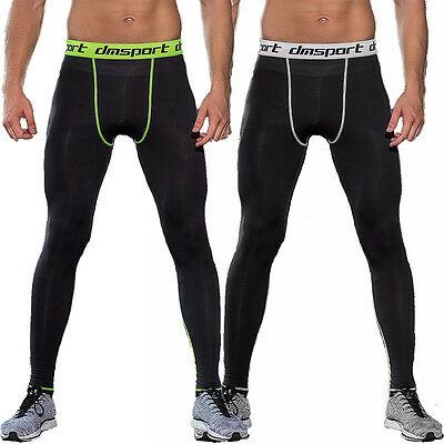 Mens Sport Compression Tights Base Layer Under Long Pants Vest T-Shirts Gym Tops