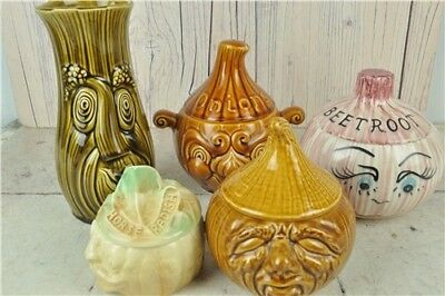 5x SADLER Folklore Faces Condiment Pots With Rare Beetroot Design