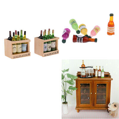 1/12 Dollhouse Miniature Wine Cabinet Wine Rack with Bottles Supplies Accs