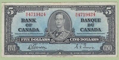 1937 Bank of Canada 5 Dollar Note - Gordon/Towers - W/C4719424 - VF