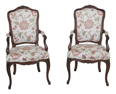 F30469EC: Pair KARGES French Style Open Arm Chairs