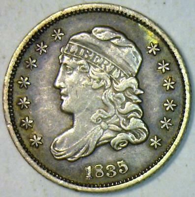 1835 Small Date, Small 5 Cents Capped Bust Half Dime; Nice Original XF+; LM-10