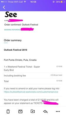 Outlook festival 2019 ticket - ono
