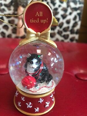 "Danbury Mint Kitty Cat Snow Globe Christmas Ornament ""All Tied Up!"""
