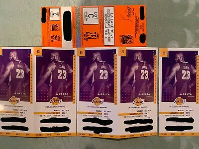 5 VIP TICKETS for 1/21/19 L.A. Lakers vs. Golden State Warriors Staples Center