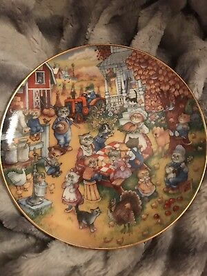 Bill Bell Ltd Ed. Franklin Mint Cats A Purrfect Feast Thanksgiving Holiday Plate