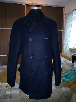 Barbour Men's Navy Blue Double Breasted Pea Coat Small