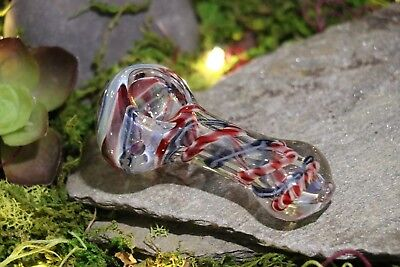 "2.5"" INCHES Fumed Swirled One Hitter Hand Blown Glass TOBACCO Smoking Hand Pipes"