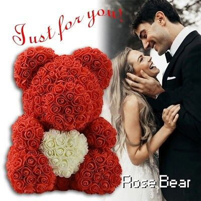 40 cm Red Teddy Bear Rose Plush Valentines Day Gift For Her Decor Artificial