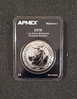 2018 GB 1 oz Silver Britannia Oriental Border  - APMEX MintDirect Single