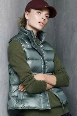 bf23fc56bd85 J.Crew SHINY PUFFER DOWN VEST in Alhambra Green CLASSIC MODERN Size XS NEW!