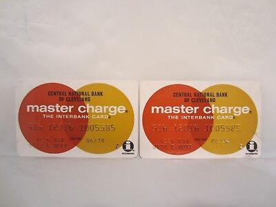 Vintage 1974 Master Charge Credit Card Set of 2 Central National Bank Cleveland