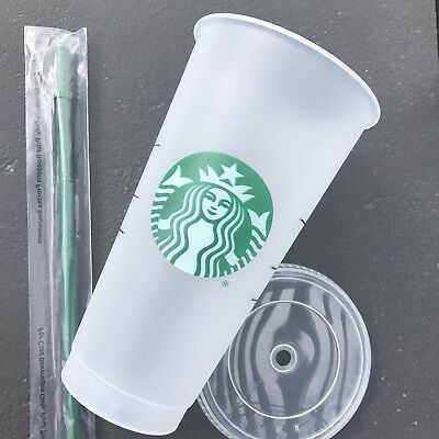 STARBUCKS Frosted Reusable 24 Oz VENTI Clear Cold Cup Tumbler With Straw NEW