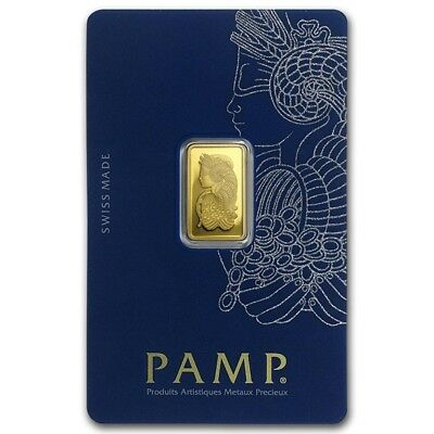 PAMP Suisse Fortuna 2.5g Gram Fine Gold Bar Bullion 999.9 - NEW - FREE P&P