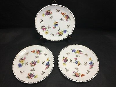 "Reichenbach 7 5/8"" SALAD PLATES lot x3 Floral W/ Gold Vintage Fine China Germany"
