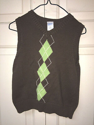Toddler Boys~Pull Over Argyle Sweater~Brown~Light Green~Size XS~3-4~Gymboree