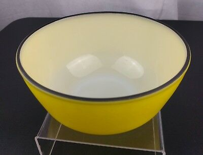VTG Yellow Fire King Bowl Anchor Hocking Black Band Mid Century Retro Mixing
