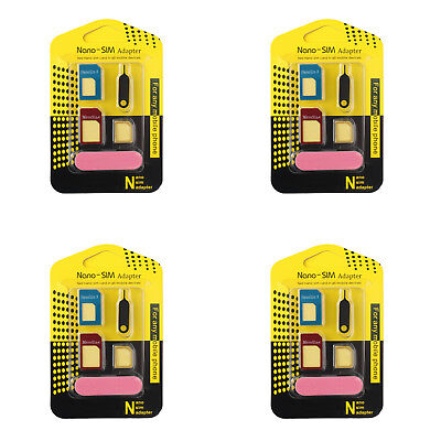 4Pcs Nano SIM Card to Micro Standard Adapter Converter Set For Samsung iPhone