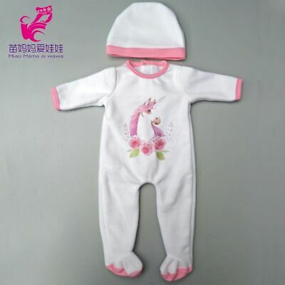 Doll Clothes Pants Pink Unicorn Romper Clothes Reborn Baby Doll Wear Sets Gifts