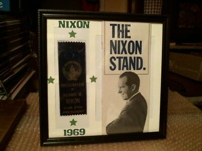 President Richard M. Nixon Original Vintage Campaign Brochure Ribbon Display