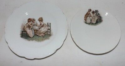 Small PLATE and SAUCER with Scenes of Victorian Girl Children TEA PARTY