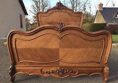 Stunning Antique French Louis XV Double Bed Frame Carved Oak And Fruitwood