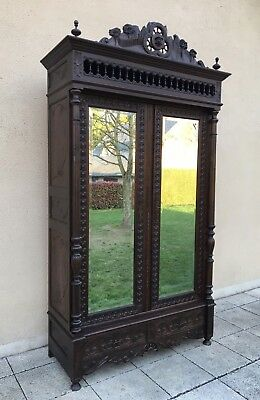 Antique French Breton Armoire Wardrobe Linen Cupboard