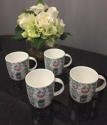 NEW 4x Laura Ashley SUCCULENT POTS Mugs - FREE SHIPPING