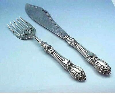 Large Sterling Silver Rococo And Bead Serving Fork And Knife - Sheffield 1865
