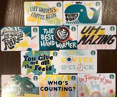 10 NEW STARBUCKS 2019 RECYCLED PAPER GIFT CARDS LOT Ready To Ship,FREE SHIPPING