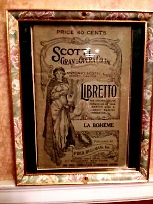 La Boheme, Authentic ( 1898) Handbill With Entire Play; Matted & Framed