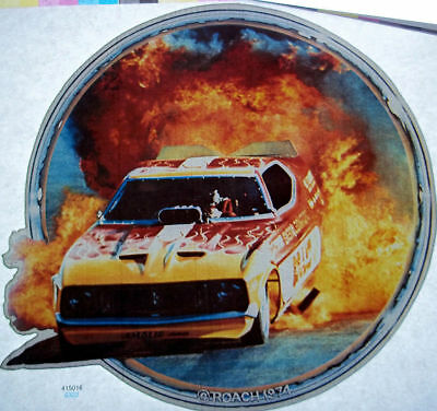 Funny Car Fire Burnout Vintage 70's Roach T-Shirt transfer
