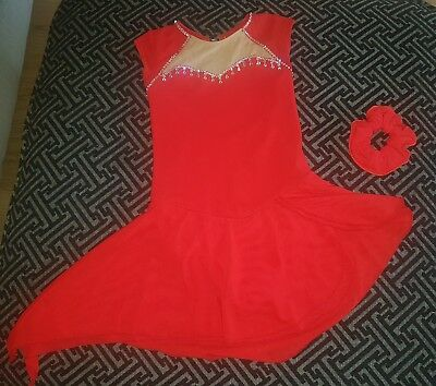 Childs Red Ice Skating Dress and hair band