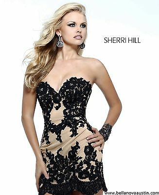 21187 Sherri Hill Black Crystal Lace Party Cocktail Prom Gown Dress Size USA 4