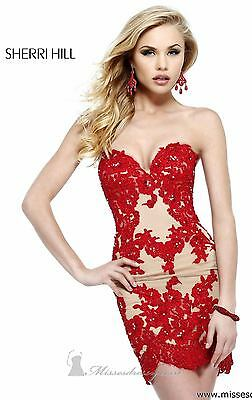 21187 Sherri Hill Red Crystal Lace Party Cocktail Prom Gown Dress Size USA 4