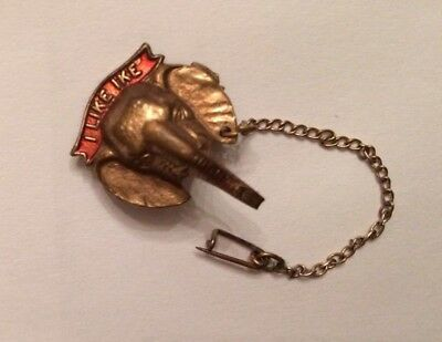 RARE 1950's IKE Eisenhower Elephant Pin with Chain