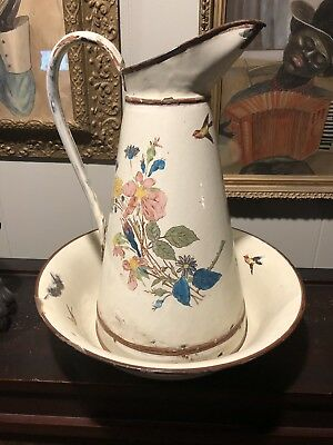 Vintage French Enamel Water Pitcher & Bowl Birds Flowers Lavabo Rare Antique