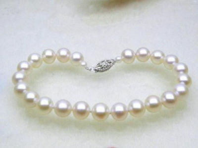 """NEW HOT AAA NATURAL SOUTH SEA WHITE ROUND  PEARL BRACELET 7.5-8""""14K gold clasp"""