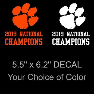 Large Clemson Tigers 2019 National Champions Decal Sticker Paw Print 6.2 x 5.5