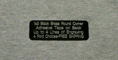 1x3 Custom Engraved Round Corner Black Brass Plate Plaque Tag Trophy Flag Pet
