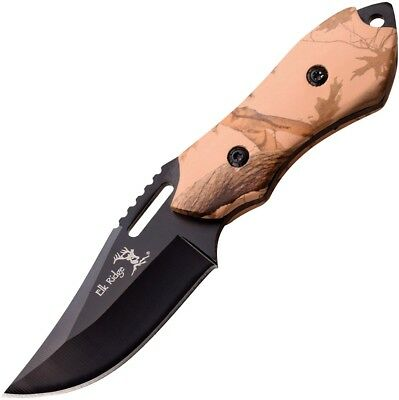 "Fixed Blade Knife Elk Ridge 6"" Full Tang Black Blade Camo Handle Skinner ER562BC"