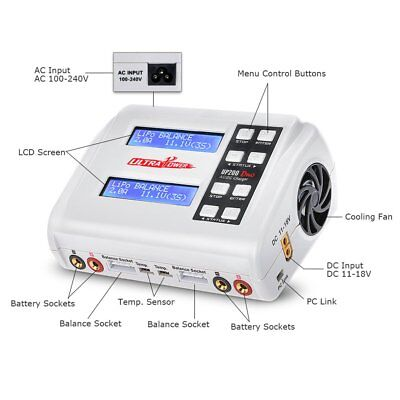Ultra Power UP200 DUO 200W 10A AC / DC Battery Balance Charger / Downloader Q6