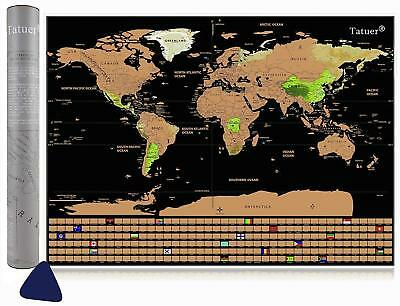 Large Scratch Off World Map Deluxe Edition Personalized Travel Log Poster NEW