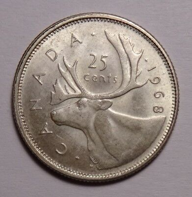 1968 Canada 25 Cents silver  coin, Canadian quarter