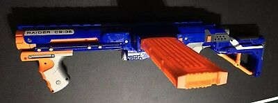 Hasbro Nerf N-Strike Raider Rapid Fire CS-35 Dart Blaster With Stock Ext Mag