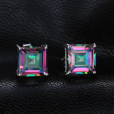 4.3ct Mystic Topaz Square Stud Earrings Solid Sterling Silver Fashion Gift