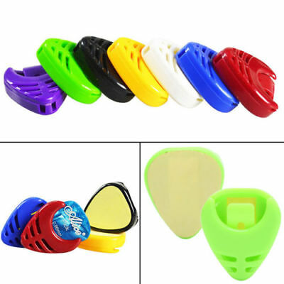 5Pcs/Set Plactic Guitar Pick Plectrum Holder Case Box Acoustic Heart Shaped