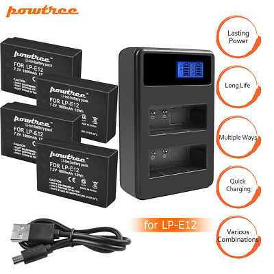 4xBatteries+Dual Charger for LP-E12 1800mAh Canon Rebel SL1 EOS M 100D SLR DS